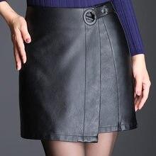SWYIVY En Cuir Jupe Femme Noir 2018 Femelle Élégant Noir Office Lady Jupe  Boucle Ceinture Irragule PU En Cuir Femme Automne Jupe. bc4b0e1954c