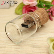 JASTER new arrival messenger bottle usb 2.0 memory stick glass drift bottle usb flash drives wooden cork pendrive 4GB 8GB 16GB