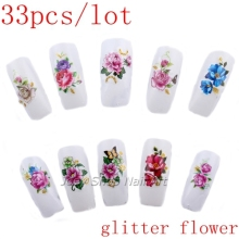 33pcs Flowers with Gold Glitter Nail Art Stickers Decals Wraps Water Transfer Nail Sticker False Nails Accessoires(China)