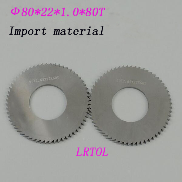 2pcs 80mm*22mm*1.0mm*80T Solid carbide Saw blade Milling cutter import material Processing stainless steel<br>