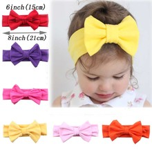 6 Inch Big Bow Solid Cotton Turban Headband For Kids Girl Kids Knotted Head Wrap Hair Accessories