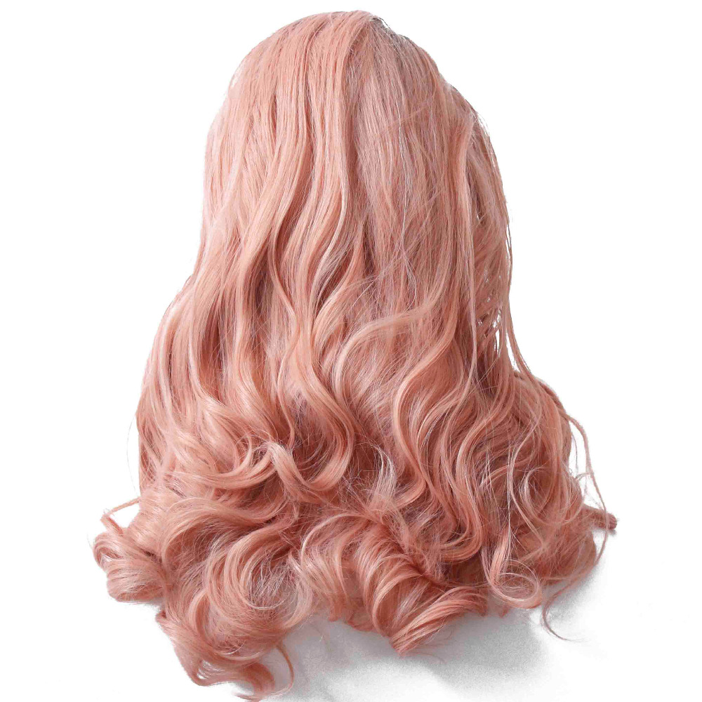 Synthetic Lace Front Ombre Peach Red Wig for Women Long Wavy Heat Resistant Pink Hair Glueless Hair Replace Daily Wig-8