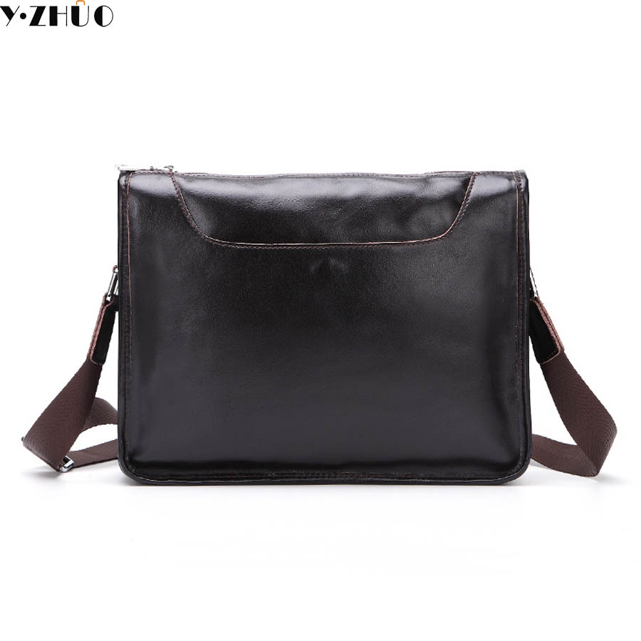 good quality genuine leather crossbody bags for men business briefcase 100% really cowhide messenger shoulder bags luxury brand<br>