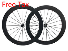 Free Tax Full Carbon Bikes Wheelset 50mm clincher 700C Bicycles Wheels install with Novatec Powerway Bitex Hub Aero/Round Spokes