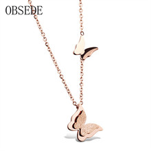 OBSEDE Fashion Charm Women Necklace Double Butterfly Pendant Necklace Rose Gold Stainless Steel Necklace Female Jewelry