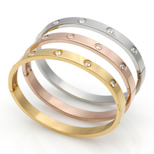 Stainless Steel Luxury Classic Design Love Bracelets Bangles Wristband Bangle 316L Titanium Lover Bracelet for Women A0046(China)