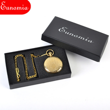 Roman Numberals Gold Key Chain Necklace Cool Business Suit Pocket Watch Men Luxury Gift Brand Box Men Mechanical Watch PW484
