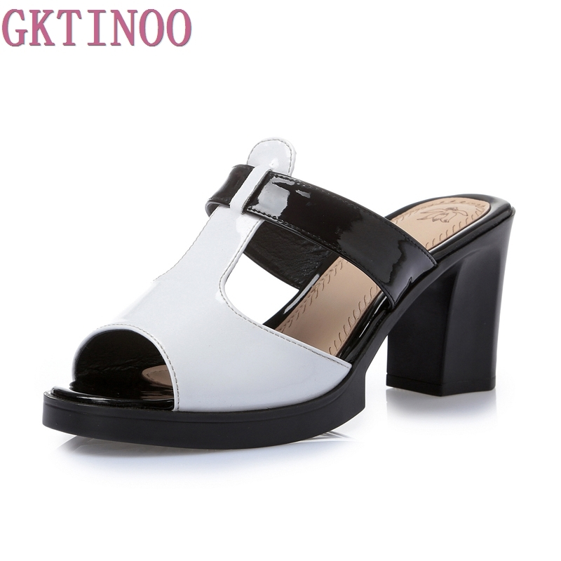 Fashion Women sandals comfortable geuine leather thick heels womens casual shoes summer platform sandal plus size 35-42<br>