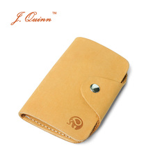 J.Quinn Simple European Retro Home Leather Key Wallet Genuine Cowhide Key Case for Men Women with Card Holder Purse Hook 2017(China)
