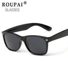 ROUPAI 2017 Fashion Polarized Sunglasses Men Driving Mirror Coating Points Black Frame shades  Eyewear Male Sun Glasses UV400