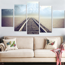 2017 Limited 5 Panel Modern Oil Painting Railway Landscape Posters And Prints Canvas Wall Art Picture For Living Room No Frame