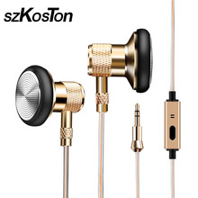 KST-T6 Golden Skin Earphone With Mic Metal Earbuds single crystal copper wired Earphones Handsfree Call For Android IOS Phone(China)