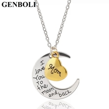 GENBOLI Special Charm Pendant Necklace Engraved with I Love You To The Moon And Back for Gift Lovely Stylish Accessory