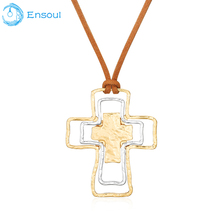 Ensoul Korean velvet alloy pendant three-story cross necklace size adjustable necklace and pendant ladies charm ladies jewelry(China)