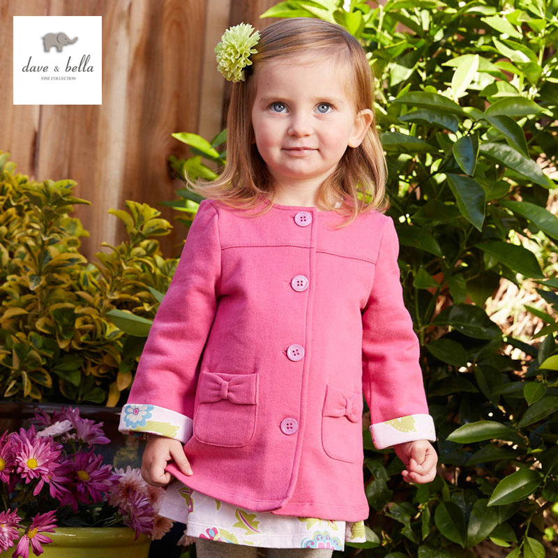 DB4389 dave bella spring new girls casual outerwear fashinable children clothes rose outerwear<br>