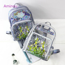 2017 New Design Ladies Holographic Backpack Fashion Women Transparent Bag Brand Star Printing Backpack Teenage Girls School Bag(China)