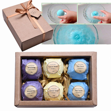 2017 Gift Organic Bath Salt Bombs Skin Care Oil Sea Salt Handmade Bath Bombs Gift Set Pack of 6 Body Cleaner Rose Red Smell A234(China)