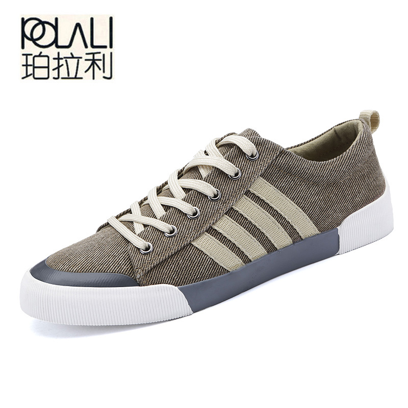 POLALI Classic Canvas Shoes Men Casual Shoes Comfortable Round Toe Lace-up Flat Shoes Fashion Breathable Wear-resistant Shoes