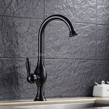 Oil Rubber Bronze Kitchen Mixer Faucet Noble Quality Swivel Taps Black Finish Single Handle Hot and Cold Water Faucet ZR372