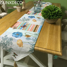 DUNXDECO Table Runner Blend Jacquard Tablecloth Country Style Flowers Butterfly Stripe Party Kitchen Home Textile Cover Decor