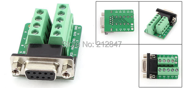 RS232 Serial DB9 Female Adapter to Terminal Connector Signal Plate Module