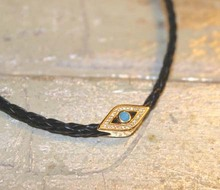 TWO COLORS Tan and Black Braided Leather Vermeil & blue Zircon Evil Eye Choker Necklace sterling silver 925 spring 2017