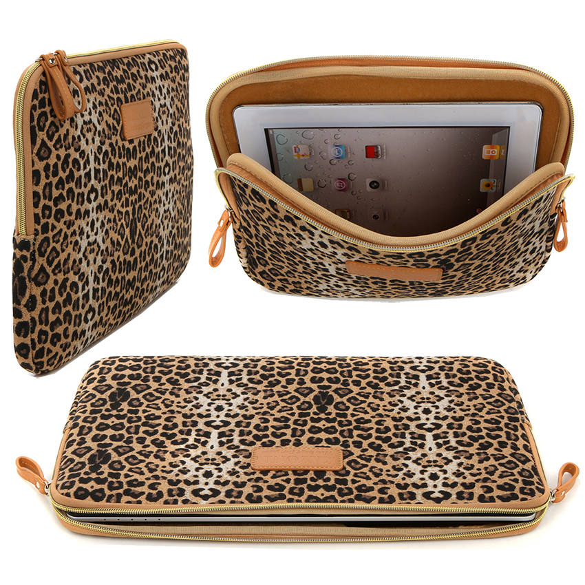 2016 Kayond Laptop Sleeve Bag Brown Leopard Print Canvas Notebook Briefcase 11 12 13 14 15 inch Adapter Bag Mouse Bag 8 10 inch<br><br>Aliexpress