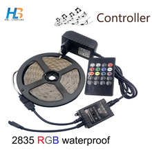15m 10m 5M SMD 2835 led strip RGB Waterproof LED Strip lighting+Music Sound Sensor IR Controller 20keys +DC12V Adapter full set