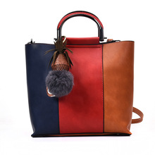 WOMEN new hanbag top-handle tote composite bags fuzzy ball accessories patchwork satchel(China)