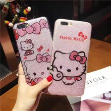4 patterns TPU Soft side hard Case hello kitty cover for iPhone 6 6s plus 7 7 Plus Bling Glitter Powder Shine Cell Phone Case
