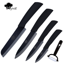 "Myvit brand Home Kitchen Knives set 3"" 4"" 5""+6"" Bread Knife Ceramic Knife Black Blade Kitchen Knives in high quality"