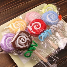 New 1 pc Color Random practical gifts wedding birthday gift little lollipop towel toallas handkerchief(China)