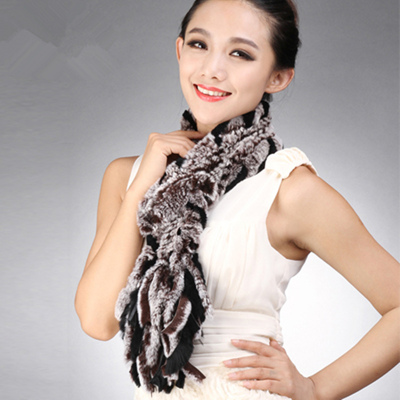 Autumn Winter Genuine Real Knitted Rex Rabbit Fur Muffler Women Fur Scarves with Tassels Neckwarmer VF0601