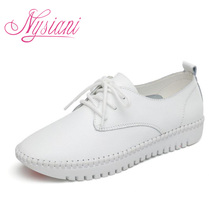 Nysiani Leather Flat Shoes For Women 2017 Spring Summer Fashion Casual White Loafers Shoes Round Toe Lace-up Muffin Female Shoes