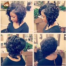 Alibarbara Popular Vietnamese Virgin Hair Big Curly Hair Weave Star Style Hair Short Bob 3 Bundles With Closure Model Hair Star
