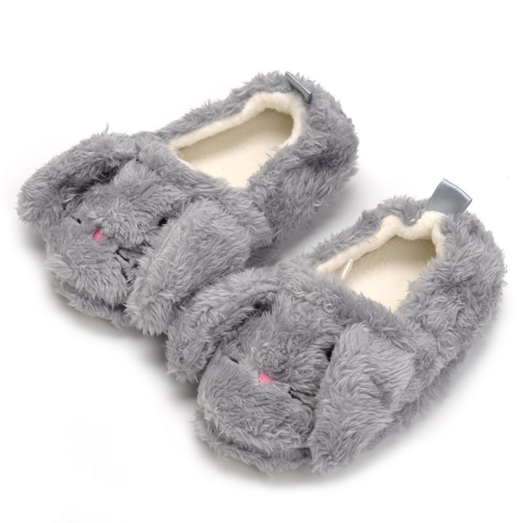 Boys Girls Kids Home Slippers Fall Winter Warm Shoes Child Cute Animal Soft Plush Cotton Shoes 5-9 Years Old
