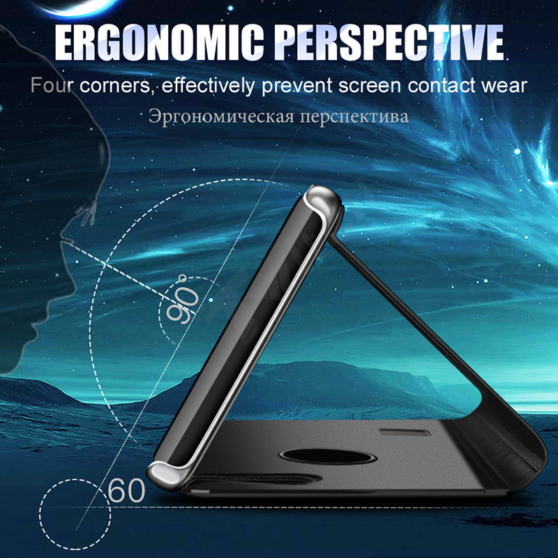 SHUOHU Luxury Case for iPhone 8 7 6 6 S Plus Ultra Slim Mirror Smart Case for iPhone 8 iPhone 7 Cover Phone Holder for iPhone X 9