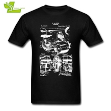 Revolver Guns Male T Shirt Cool Custom Made Loose Tops Men Short Sleeve 100% Cotton Tees Teenage Newest Unique Clothes(China)