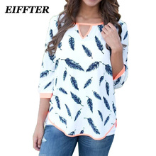 EIFFTER Women Blouse Tops 2016 New Fashion 3/4 Sleeve Women Shirt Plus Size Casual Women Clothing Lady Print Blouses Blusas 2927