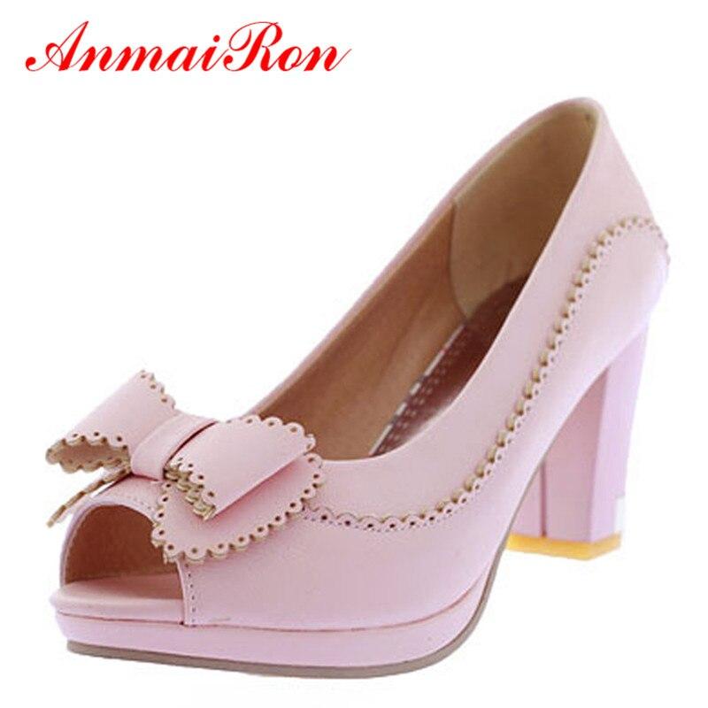 ANMAIRON Pumps Shoes Women 2017 Womens Ladies Open Toe Heels Platform Pumps Bow Pumps Wedding Womens Pumps Shoes Size 34-39<br><br>Aliexpress