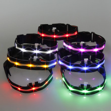 2.5cm LED Nylon Pet Dog Collar Night Safety LED Light-up Flashing Glow In The Dark for  Pets Cat Dog Collar 7 Color Wholesale