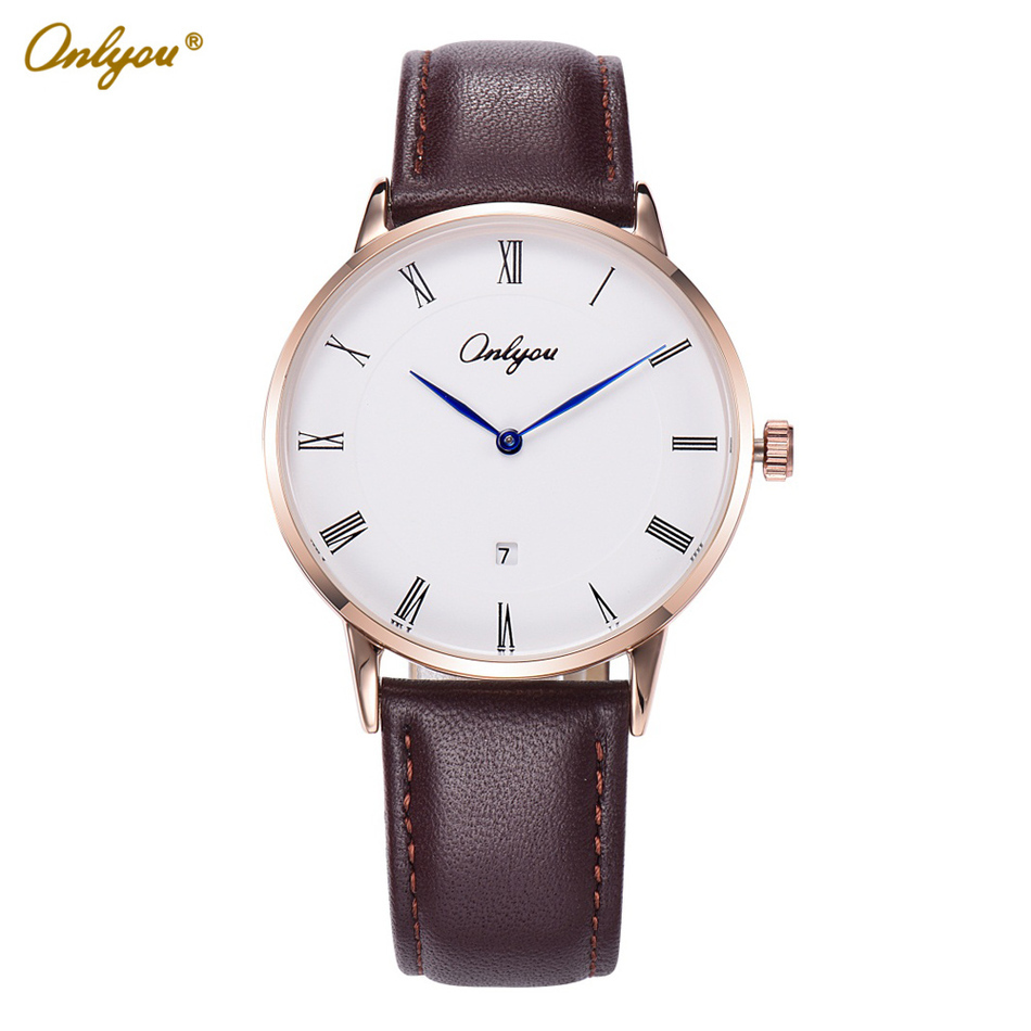 Onlyou Brand Calfskin Leather Quartz Watches for Men Roman Numerals Dial Casual Business Stylish Boys Wristwatches Relogio 81082<br>