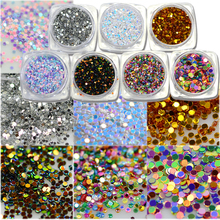 STZ 2g Fashion Nail Glitter Powder Dust Glow Glossy Iridescent Round Design DIY Nail Tip Decoration Nail Art Accessories Y01-07