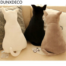 DUNXDECO 1PC3D Creative Cute Animal Cat Back Cushion Stuffed Baby Toys Bedding Car Sofa Decoration Pillow Gift Home Decoration