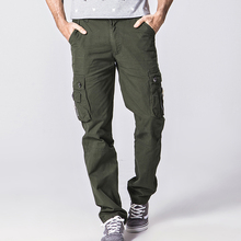 Men's Cargo Baggy Pants Multi Pocket Military Overall Men Solid Color Long Trousers 9 Size Optional