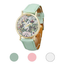 New Arrival Fashion Original Brand Watch Flowers Women Men Leather Band Analog Quartz Dial Wrist Watch Hot Selling Wholesale