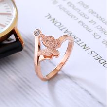 YUN RUO Top Brand Rose Gold Color Frosted Butterfly Ring for Woman Girl Wedding Jewelry Fashion 316L Stainless Steel Never Fade(China)