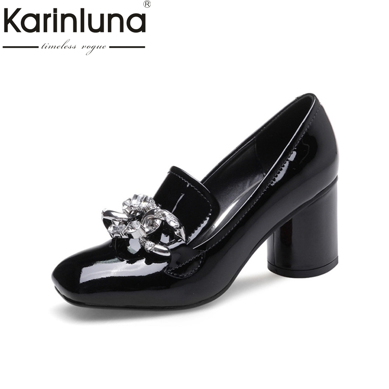 KARINLUNA 2017 Brand Design Nature Genuine Leather Women Shoes Woman Fashion Column High Heels Date Elegant Pumps Lady Footwear<br>