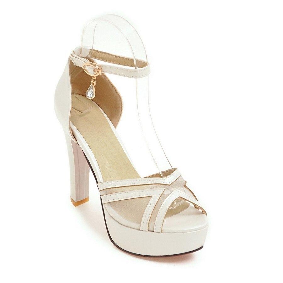 2017 brand women summer wedding shoes ladies peep toe platform plus size white sexy high heels ankle strappy sandals 17-17<br><br>Aliexpress