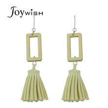 Joywish Silver Color Chain With Pink Beige Navyblue Color Wood Tassel Shape Drop Earrings For Women Accessories Jewelery